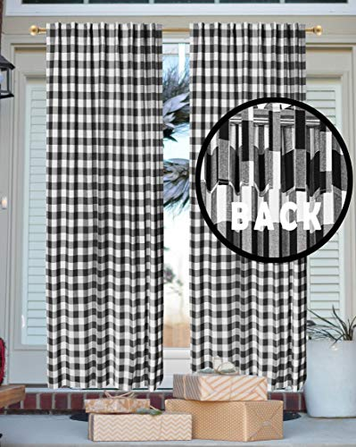 Gingham Check Window Treatment Curtain Panels, Décor panel, Nursery Curtain, Farmhouse Curtain, Kitchen Curtain, Bathroom Curtain, Living room Curtain - 50x63 Inch - Black White - Set of 2 Panels