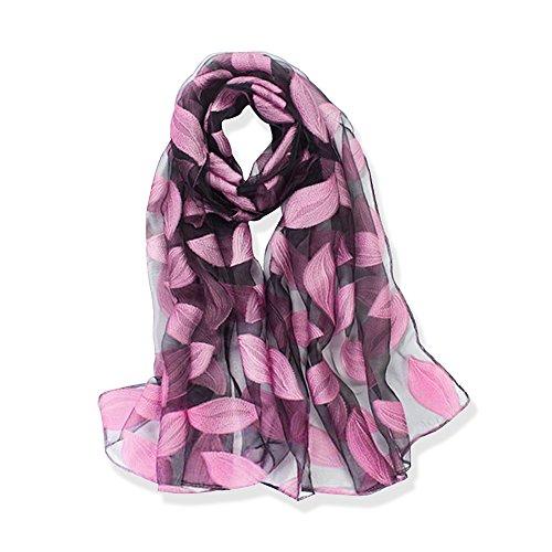 YFZYT Organza-Schal für Damen mit Feder Stickerei Muster/Elegantes Accessoire für Frauen/Organza-Schal/Halstuch/Schulter-Tuch/Schal Chiffon Stola Scarves - Lila Blätter