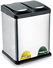 AINIYF Dual Trash Can, Step Rubbish Bin, Stainless Steel Double Compartment Classified Recycle Garbage Pedal Dustbin, Suit...