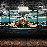 183Tdfc Palm Atlantis Dubai Emiratos Árabes Unidos Hotel Moderno Cuadro En Lienzo 5 Piezas Sala Y Dormitorio Decoración del Hogar,Decoración De Pared Art 150X80Cm(con Marco)