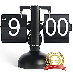 MIDCLOCK Flip Clock, Home Décor Desk Clock, Retro Auto Flip Down Clock, Vintage Large Number Clock, Stainless Steel, Battery Powered, Digital Clocks for Living Room Décor (Classic Black)