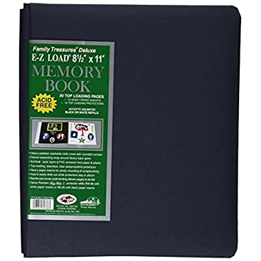 Pioneer Photo Albums 20-Page Family Treasures Deluxe Midnight Blue Fabric Cover Scrapbook for 8.5 x 11-Inch Pages