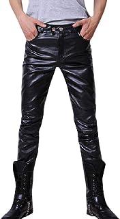 Xmiral Pantaloni Lunghi da Uomo Slim Fit in Pelle Autunno Inverno Moto Biker