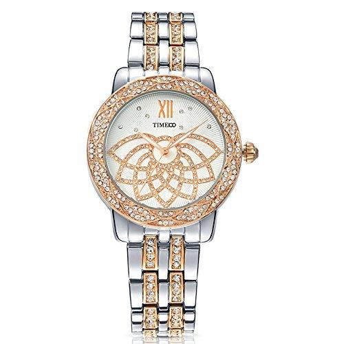 Time100 Sweet de pétalo Diamantes Pulsera Cuarzo Mujer Reloj de Plateado