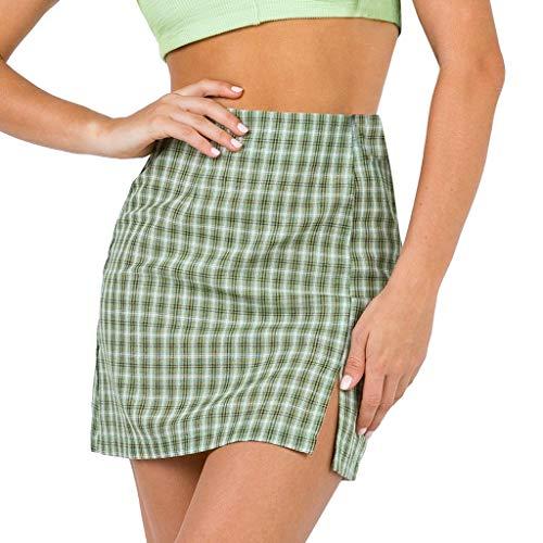 PPangUDing Sommerkleid Minirock Damen Hohe Taille A-Linie kariert Gedruckt Knielang Wild Partykleid Brautkleid Petticoat Strandkleid (M, Grün)