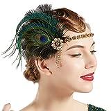Coucoland - Fascia per capelli con piume di pavone, stile anni '20, da donna oro nero Taglia unica