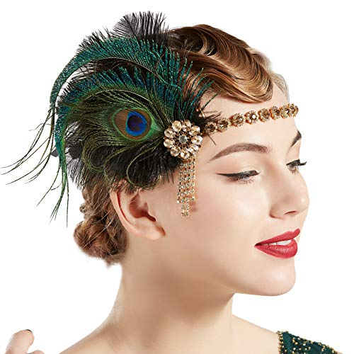 BABEYOND 1920s Flapper Headband Roaring 20s Headpiece Gatsby Ostrich Feather Headpiece with Crystal (Peacock)