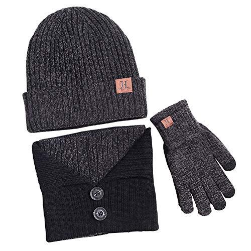 Bequemer Laden Wintermütze Herren Warm Strickmütze Schal und Touchscreen Handschuhe, 3 teilige, Dunkelgrau, Einheitsgröße