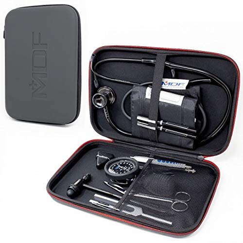 MDF Stethoscope Hard Case for Classic Cardiology, MD One and Acoustica Stethoscopes, Reflex Hammers, Sphygmomanometers, Penlights - Mesh Pocket for Doctor & Nurse Accessories - Large (MDFSCL12)