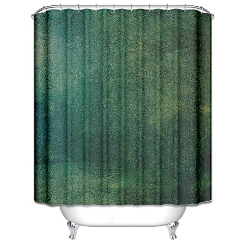 Blisfille Duschvorhang Anti-Schimmel Polyester Badewanne Vorhang 120x180cm Blase Dunkelgrün Mit 12 Ringen Schlicht Duschvorhang