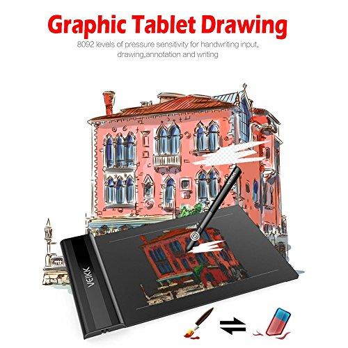 Fancylande Tablet écritoire, Tablet gráfica 6* 4Pulgadas Niveles Tablets Dibujo Tablet 5080LPI Pas besoin de Carga Pen Pen