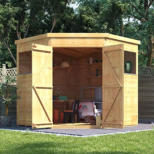 BillyOh Expert Tongue & Groove Corner Shed with Floor | Wooden Workshop Shed with Pent Roof - 7x7 (Windowed)