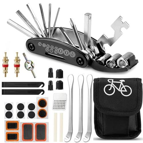 isimsus Fahrrad Multitool 16-in-1, Fahrradwerkzeug Fahrrad Reparatur Werkzeug Set Faltbares Multifunktionswerkzeug mit Reifenhebel Metallreifenraspel Selbstklebendes Fahrradflicken Usw für MTB Ebike