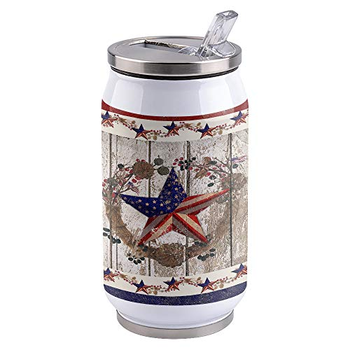 10oz Stainless Steel Liner Vacuum Tumbler Independence Day Flag Thermal Insulation Vacuum Cup with Straw & Slider Lid Vintage Wood Portable Cola Can for Travel, Sports, Camping