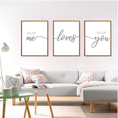 All Of Me Loves All Of You Nordisch Minimalistisch Schwarz Und Weiß Englisch Dekoration Leinwand Malerei Wohnzimmer Malerei 50X70Cmx3 Rahmenlos