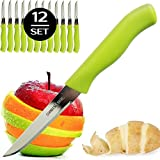 Brenium Paring and Garnishing Knife, Set of 12 Knives with Straight Edge 3 Inch Blade, Stainless...