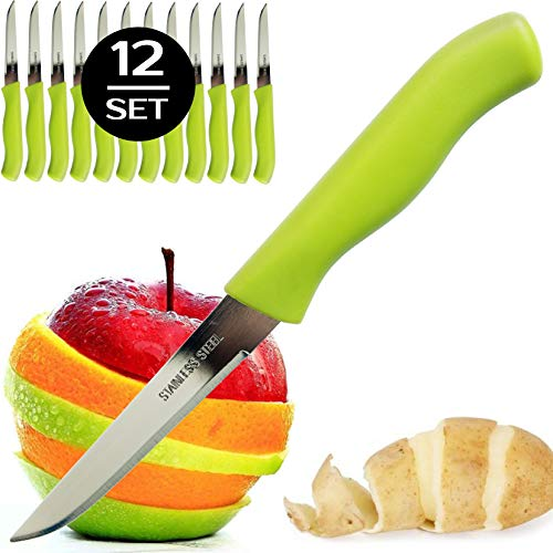 Brenium Paring and Garnishing Knife, 12-Piece Set, Knives with Straight Edge 3 Inch Blade, Stainless Steel, Spear Point, Fruit & Vegetable Cutting and Peeling, Green