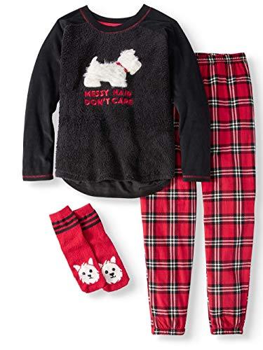 Puppy Dog Messy Hair Don't Care Black Fleece Plush Pajama Sleep Set w/Socks - Small