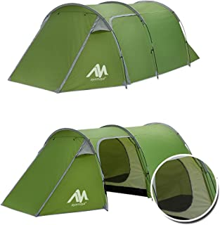 Camping Tents 3-4 Person/Man/People with 2/Two Room [Bedroom + Living Room], AYAMAYA Waterproof Double Layer [3 Doors] [3 Season] Easy Setup Large Family Tunnel Tent Shelter for Hiking Travelling