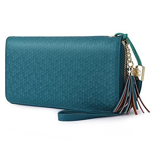 Pomelo Best Portafoglio Donna in pelle con RFID e Cinturino da polso,Design a nido d'ape (Blu verde acqua)