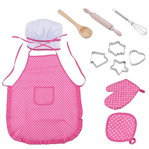 Amatt Juego de cocinero para nios, 11 piezas para nios, juego de rol, disfraz de cocinero con delantal, sombrero de chef, utensilios, guante de cocina