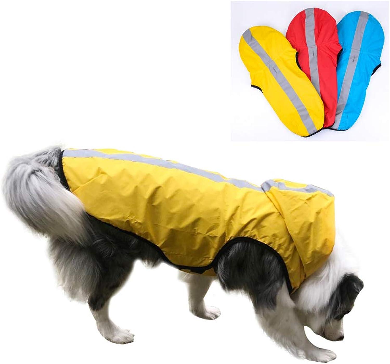 Dog Raincoat with Safe Reflective Strips, Collar Hole, Super Waterproof Rain Coat Vest, Breathable Mesh Rainwear Jacket for Medium Large Dog