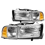 OE Style Halogen Headlights with Corner Lamp Compatible with Dodge Ram 1500 94-01 2500 3500 (Non-Sport Models) 94-02 55076749AD 55076748AD