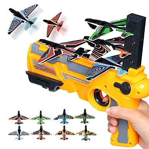 Bubble Catapult Airplane Toys for kids, 2021 New Hot Toy,One-Click Ejection Model Foam Airplane, 8 Pcs Glider Airplane Launcher, Outdoor Sport Toys Foam Airplane Birthday Children's day Gifts (Orange)