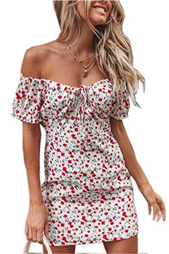 Vestido Corto con Estampado Floral Vestido Elegante Sexy para Mujer y Niña Vestido Casual con Cuello en V sin Tirantes de Mangas Cortas Ropa de Playa Verano Mujer (Blanco, S)