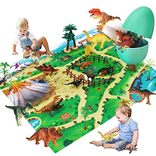Dinosauri Giocattolo Jurassic World Uovo- Figure Di Dinosauro Giocattolo Con Tappetino Da Gioco E Alberi - Giochi Bambini Compreso T-Rex - Regali Per Ragazzi - Dinosauro Gigante Giochi Per Ragazzi