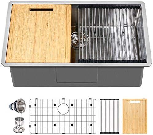 Hykolity 32 inch Workstation Undermount Kitchen Sink 16 Gauge Single Bowl Stainless Steel Sink product image