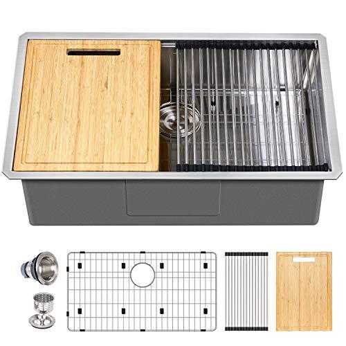 Hykolity 30-inch Workstation Undermount Kitchen Sink, 16 Gauge Single Bowl Stainless Steel Sink with All Accessories