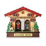 LAOLEE Baromètre créatif en bois à fixation murale pour maison, thermomètre et hygromètre
