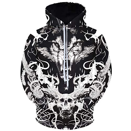 HNKPWY schedels en wolf hoodies 3D lange mouwen hoody dieren trainingspakken ontwerp trui mannen winter sportkleding