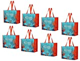Earthwise Reusable Grocery Bag Set Made from 90% Recycled Ocean Bound Plastics Eco Friendly Heavy Duty Design ( Set of 8 )