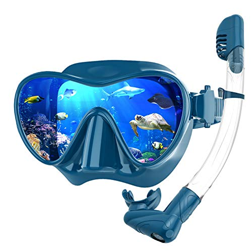 Rodicoco Snorkel Set Frameless Snorkel Goggles Foldable Snorkel Gear Detachable Snorkel Mask with 180Degree Panoramic View and Tempered Glass for Swimming Scuba Diving Snorkeling(Dark Green, L)