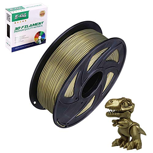 E-DA PLA 3D Printer Filament, PLA Filament 1.75mm 1KG, With High Strength and Better Toughness, 3D Printing Filament for 3D Printers, Dimensional Accuracy +/- 0.03mm, (Silk Gold)