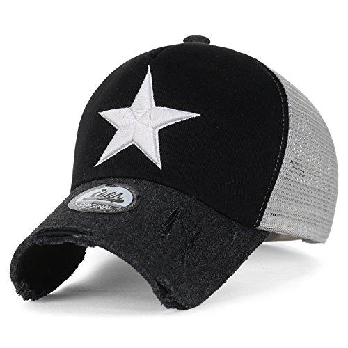 ililily Star Embroidery Black White Trucker Hat Cotton Baseball Cap, Black