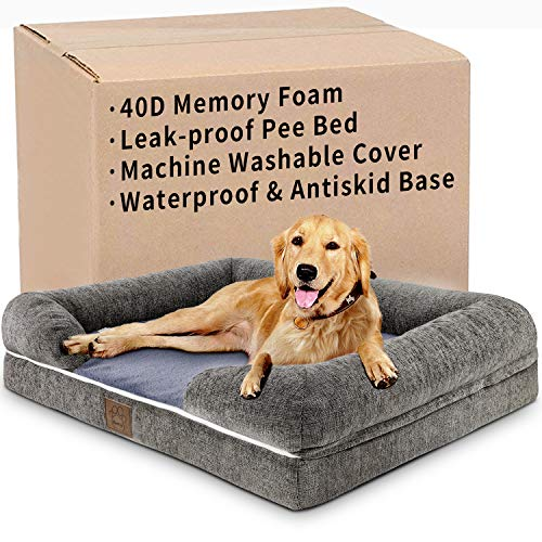 Dog Beds for Medium Dogs, Orthopedic Dog Bed for Large Dogs, Washable and Waterproof 40D Memory Foam Dog Bed with Pillow, 36''x 28'' Large Ergonomic Egg Crate Faux Fur Dog Sofa Bed for 66LB Dogs&Cats