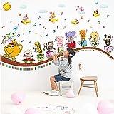 Adesivi Murali Trenino Per Animali Cartoon Cameretta Per Bambini Scuola Materna Musica Decorazione Per Pareti Adesivi Murali