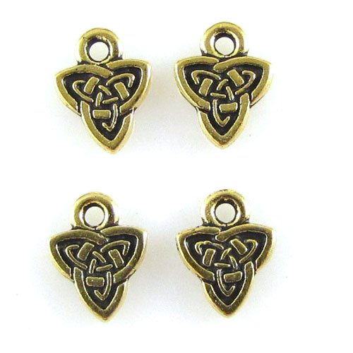 Gold Celtic Triad Charms, TierraCast Pewter Endless Knot, 4/Pkg