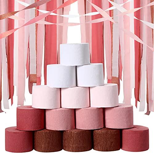 15 Rollen Krepp Papier Luftschlangen Dekoration Quasten Papierschlange Papier Bunte Krepppapier Dekoration für Hochzeit Bridal Shower Geburtstag Party Dekor, 5 Sortierte Farben, 82 Feet