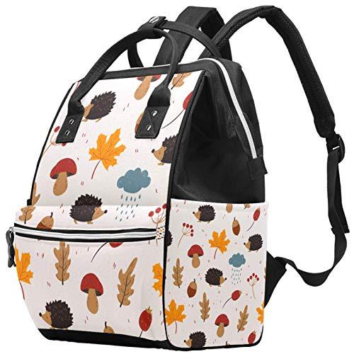 Otoño hoja lindo erizo hongo de gran capacidad para pañales de bebé, bolsa de viaje para madres y papás