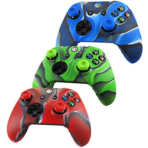 Pandaren Pelle cover skin per il Xbox One controller x 3 + pollice presa x 6 (camuffamento rosso blu verde)