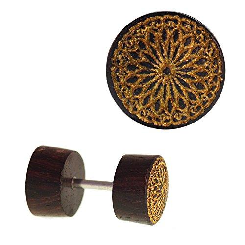 Chic-Net Fake Holz Plug Piercing Edelstahl Gravur teils golden Verschiedene Motive