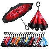 Eono by Amazon - Paraguas Invertido de Doble Capa, Paraguas Plegable de Manos Libres Autoportante,Paraguas a Prueba de Viento Anti-UV para la Lluvia del Coche al Aire Iibre, Rosado