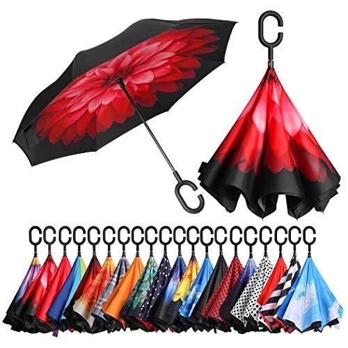 Amazon Brand - Eono Paraguas Invertido de Doble Capa, Paraguas Plegable de...