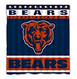 Potteroy Chicago Bears Team Design Shower Curtain Waterproof Polyester Fabric 66x72 Inches