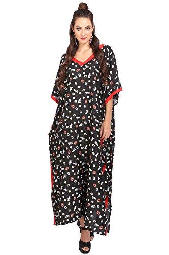 Miss Lavish London Mujer Kaftan Túnico Kimono Estilo Más tamaño Maxi para Loungewear Vacaciones Ropa de Dormir & Cada día Vestidos [118 Negro]
