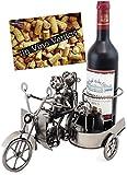 Brubaker–Soporte de Botella de Vino Moto Par con Sidecar Plegable y Perro–Escultura de Metal con Tarjeta de Regalo